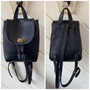 VINTAGE COACH BLACK LEATHER MINI BACKPACK 9960